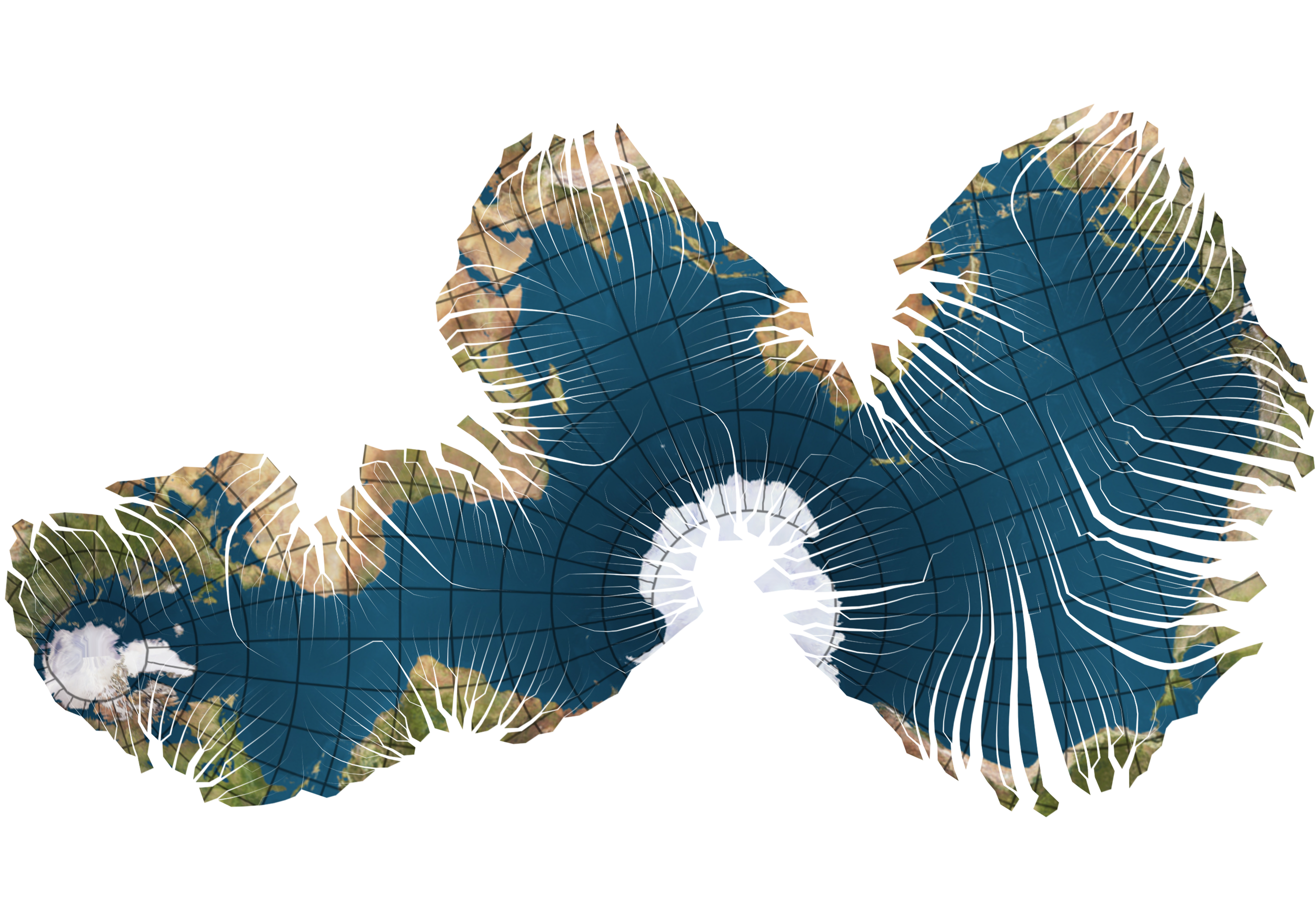 Myriahedral map projections (van Wijk, 2008) - a projection that shows the Earth's oceans.