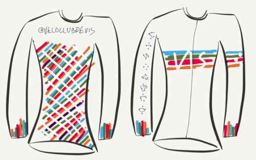 Early design sketch for 2015 Velo Club de VIS jersey, with arms the wrong way round! Note full length zipper, long sleeves and design subject to unforeseen random changes. Nothing is guaranteed - we're living dangerously here!