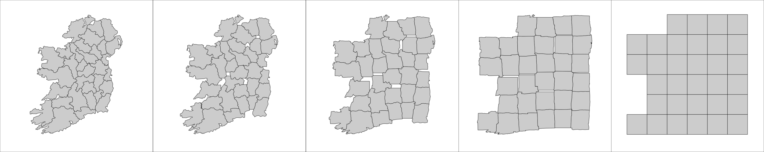 Smooth morphing from a geographic map of historical Irish counties to a small multiple with (few) gaps.