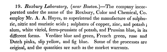 A description of the Roxbury Color Works' businesses in the American Journal of Science, 1830.