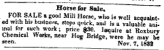 An ad in the New England Farmer, 1832.