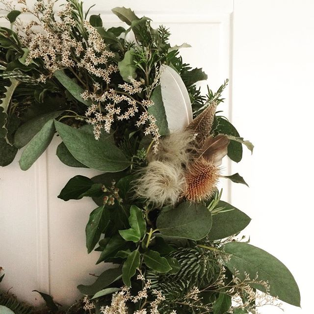 So pleased with the wreath that I made @bareblooms workshop this weekend. I decided to book this little workshop in what I knew would be a very busy week, to make sure I got to do something fun and festive in amongst the chaos that is being a one woman jewellery business in the three weeks before Christmas 🔨 🔥  I'm so pleased that I took those few hours off and made this wreath, which makes me smile whenever I walk past it. I decided not to put it on my front door because I wouldn't get to see it... so it's hanging in my tiny hall space where I can see it all the time. . . . . . #christmaswreath #greenery #crazyplantlady #momentsofmine #creativelifehappylife