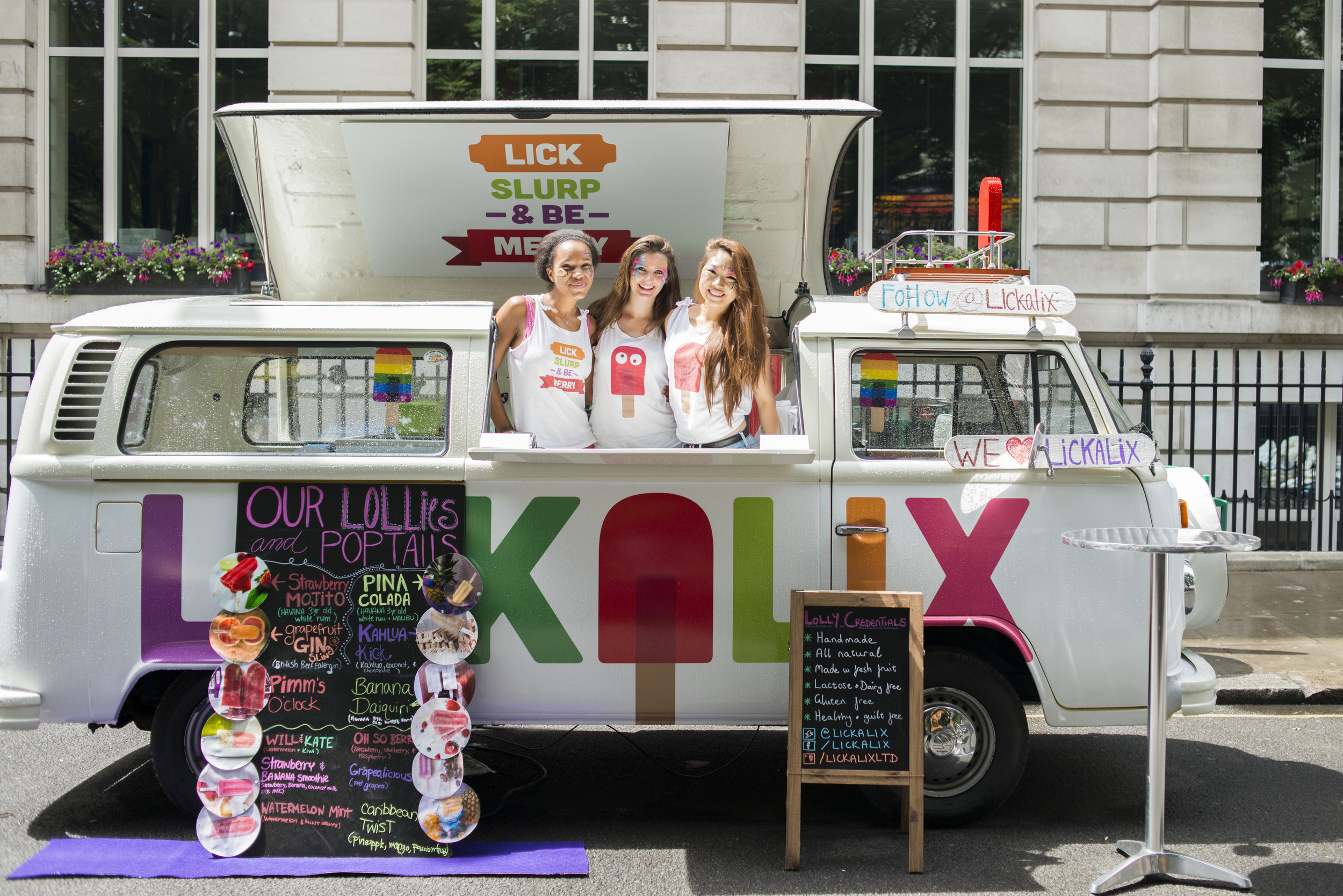 The LICKALIX team in our VW Lolly Mobile at Pride in London.