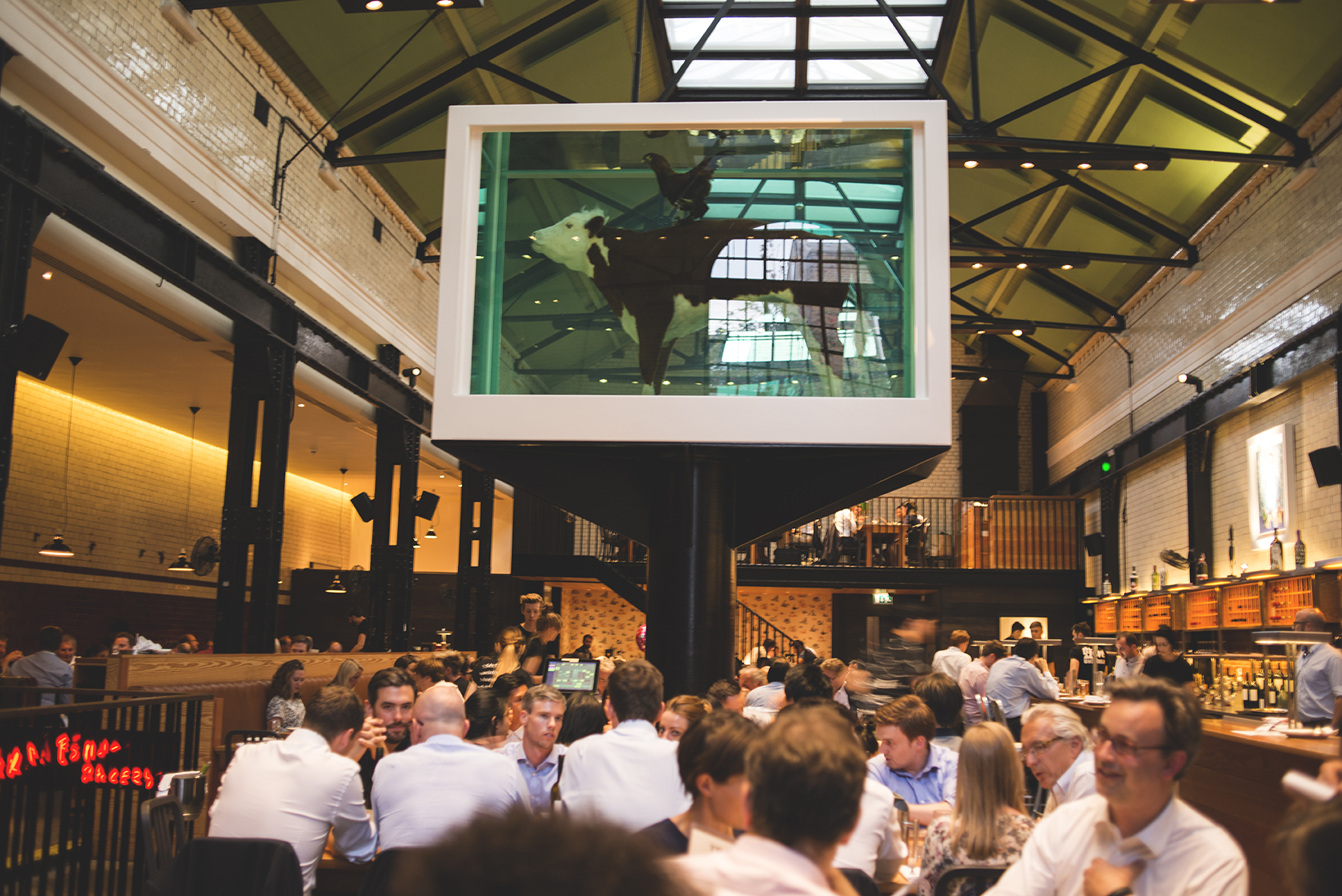The  Tramshed  is known for this beautiful piece by Damien Hirst of a cow and a cockerel.