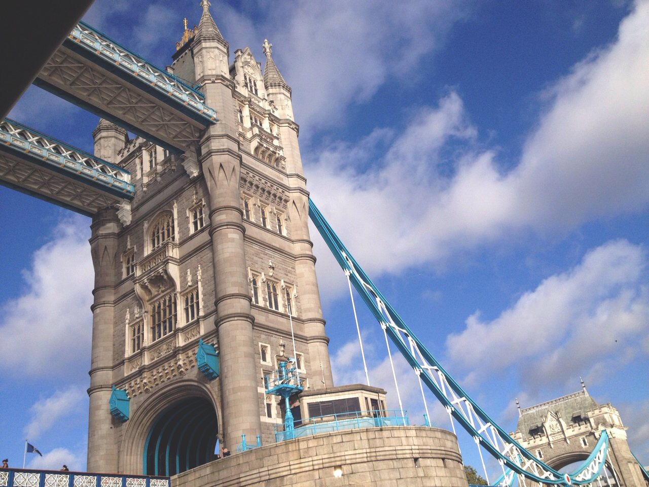 A close up view of the Tower Bridge.