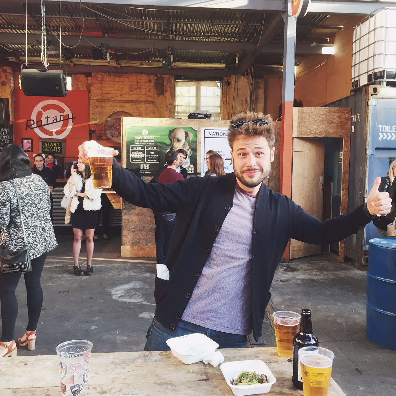 This guy enjoying some beer from  Camden Town Brewery