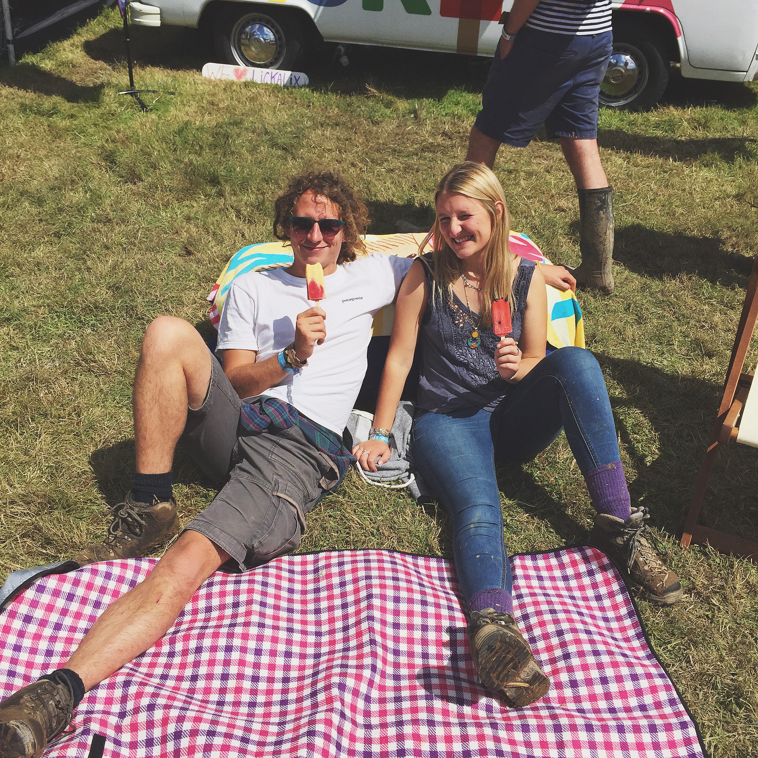 This lovely couple are enjoying our Berry Lemonade and Mango and Raspberry ice lollies