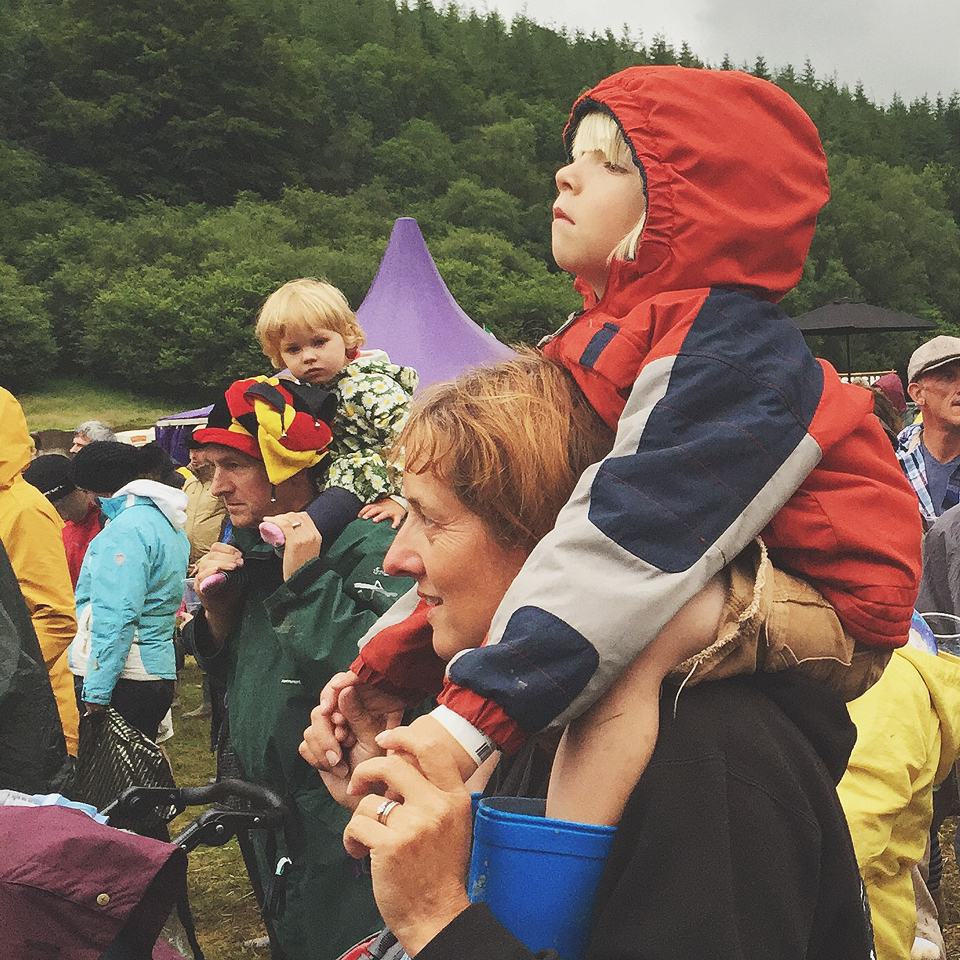 The kids had the best views of the main stage