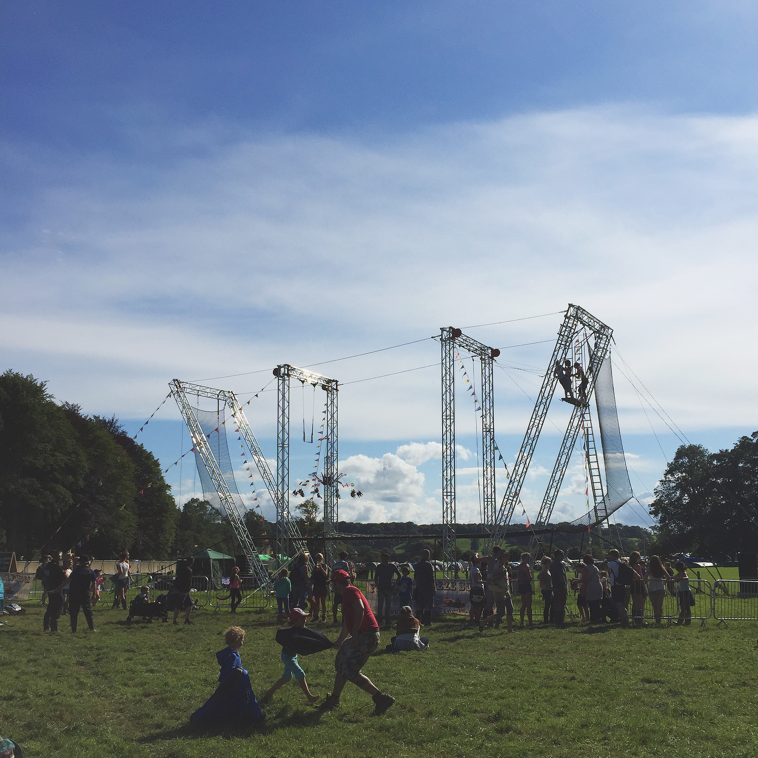While everyone else got the chance to fly through the sky ona trapeze