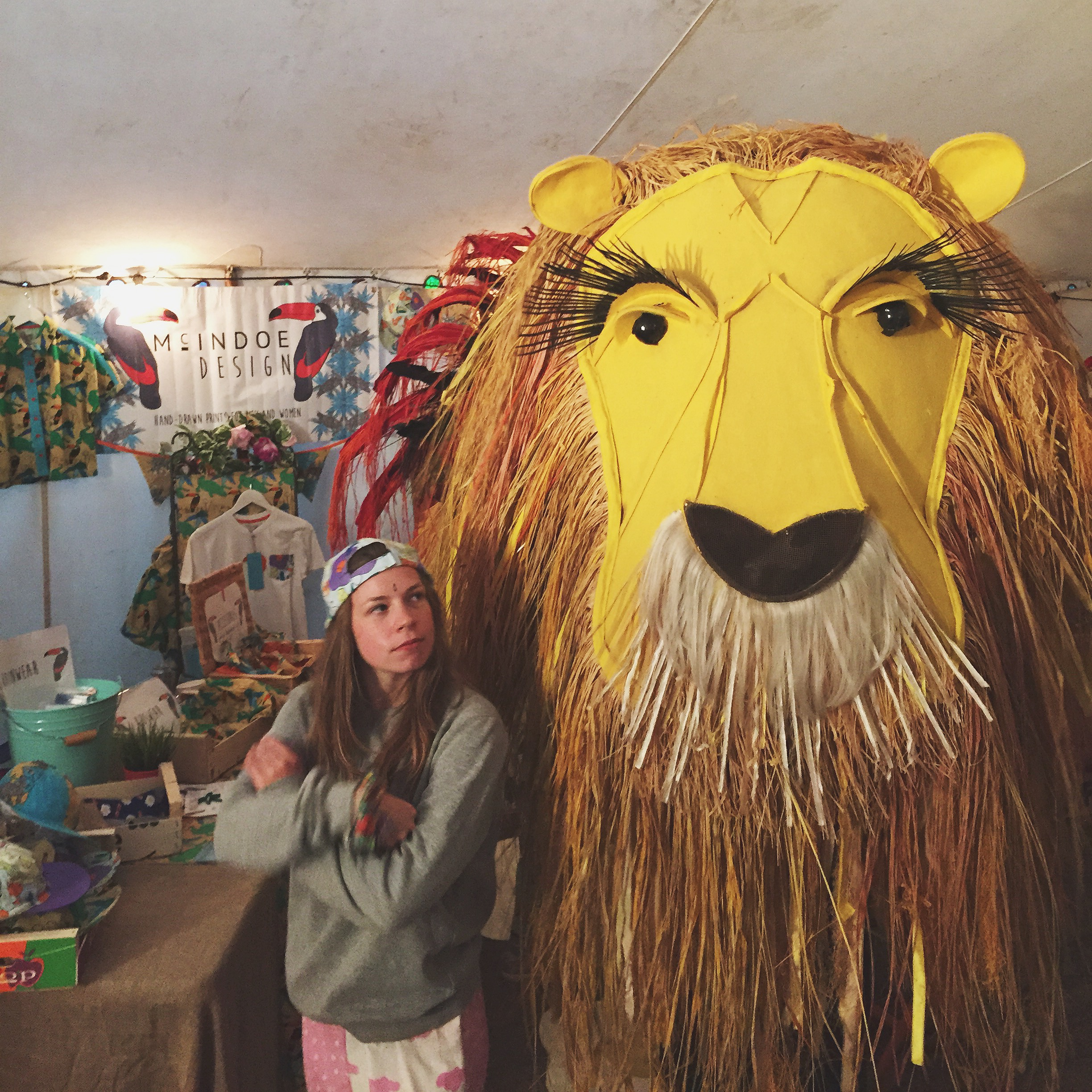 A lion we found at the festival looking for an equally large rooster