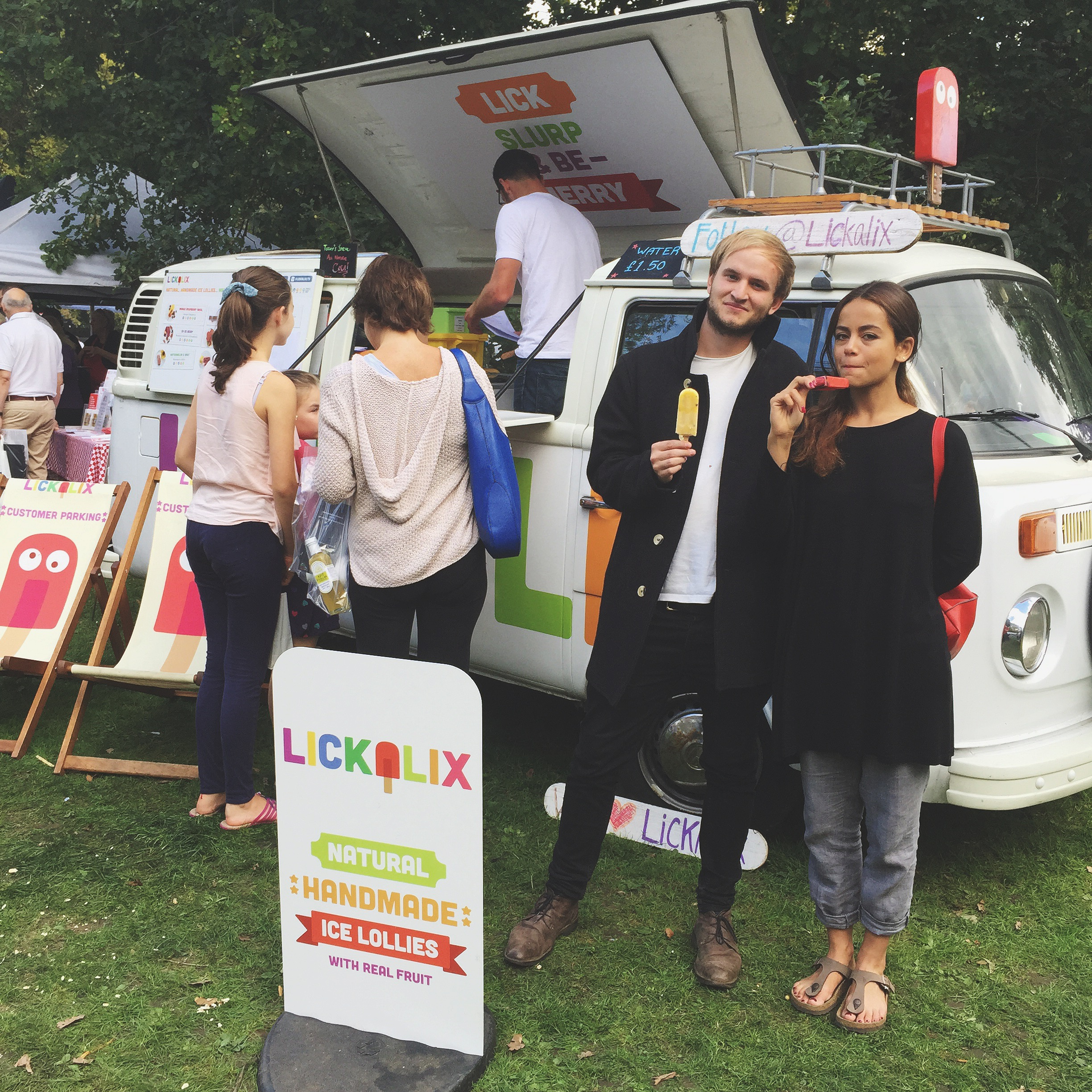 Some very happy lolly-lovers enjoying a Caribbean Twist and Berry Lemonade ice lolly