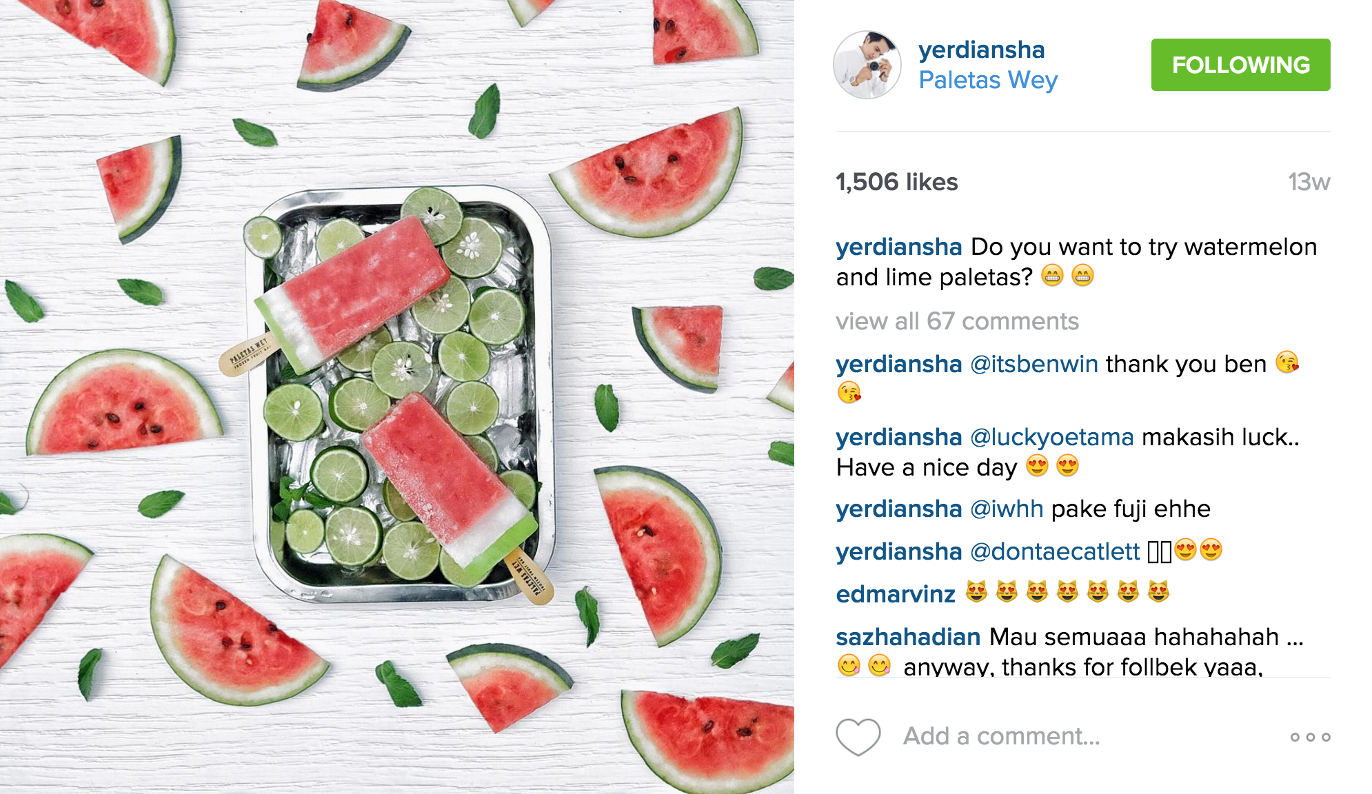 Yerdiansha's  instagram  has an impressive feed filled with clean imagery of festive meals and fruity delights such as the watermelon & lime paletas as shown above.