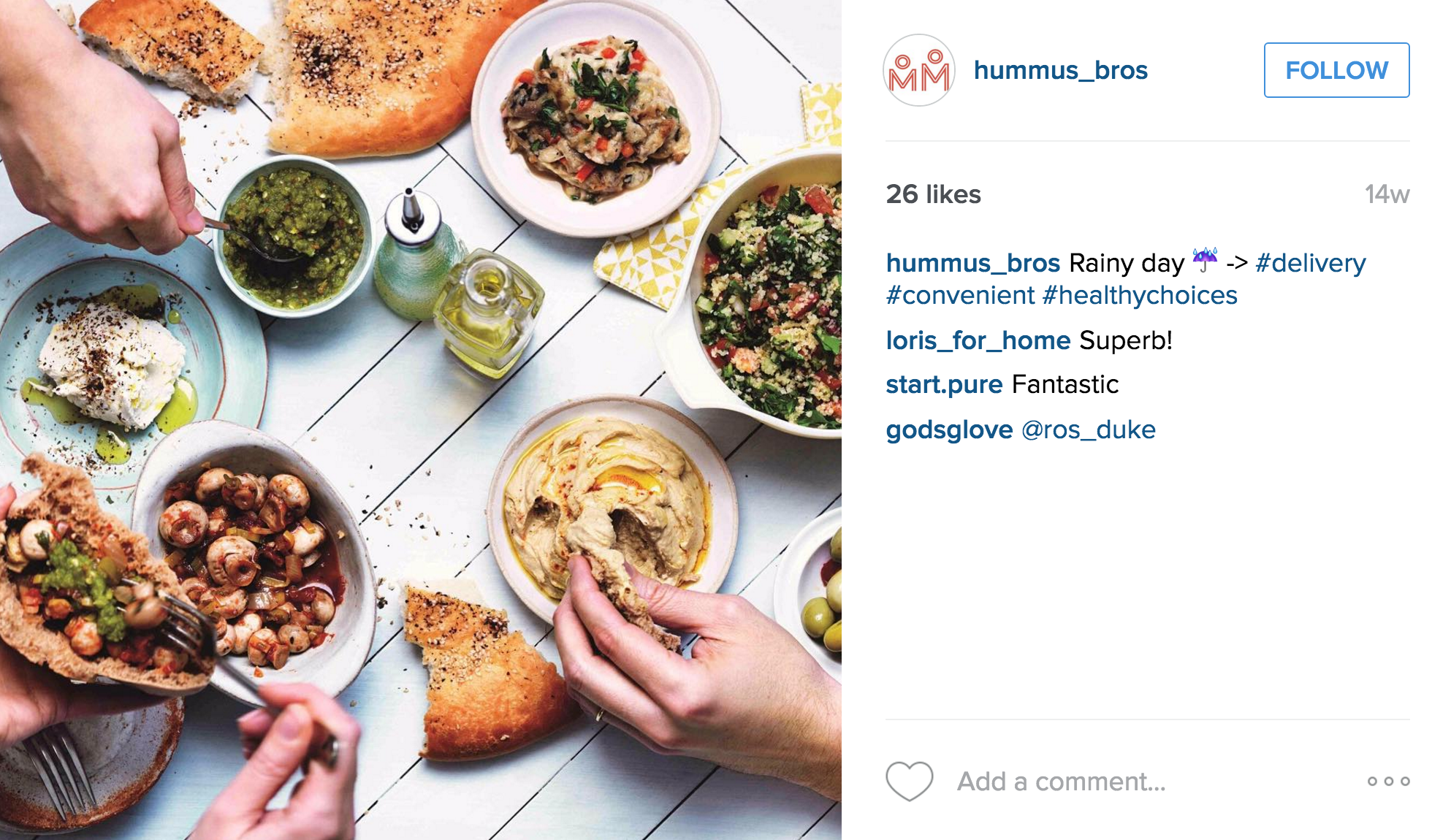 Hummus Bros does serve meat toppings, however there are plenty of options for vegan diners, including smoky aubergine, marinated mushrooms and various salad choices.   Nearest station:   There are four locations – Soho, Holborn, St Paul's, and Exmouth Market