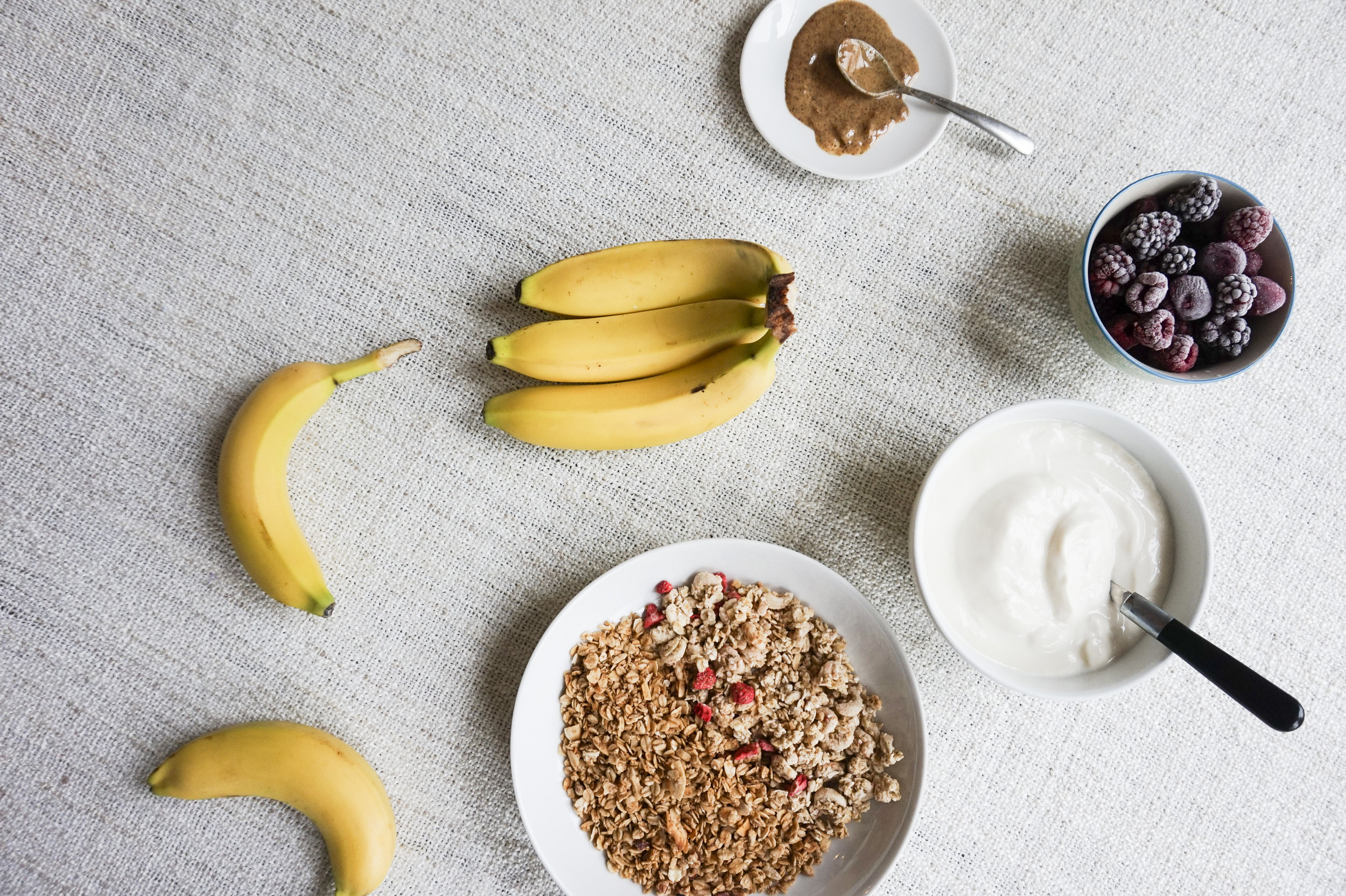 The ingredient list is simple: 1. Fresh Bananas 2. Vegan yogurt or yogurt of your choice (if you want to eat this as a dessert, ice cream will do!) 3. Granola of your choice! (we used  Spoon Cereal  &  Jordans Cereals ) 4. Fresh berries or frozen berries 5. Almond butter