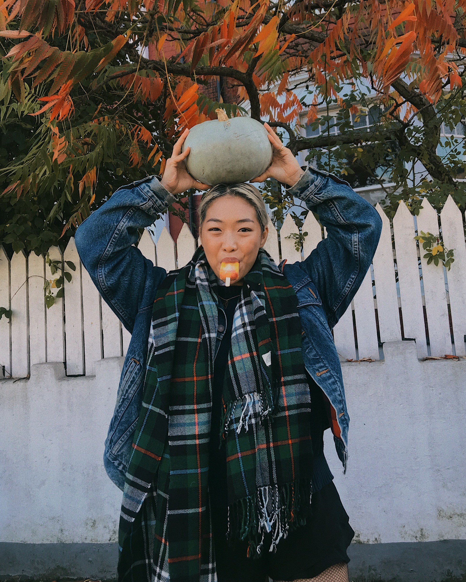 1. We love shopping for pumpkins of all shapes and sizes. We recommend going to a pumpkin patch with your friends and family to pick up a few of these beauties! We found this amazing grey pumpkin at Brian's farm in Devon!