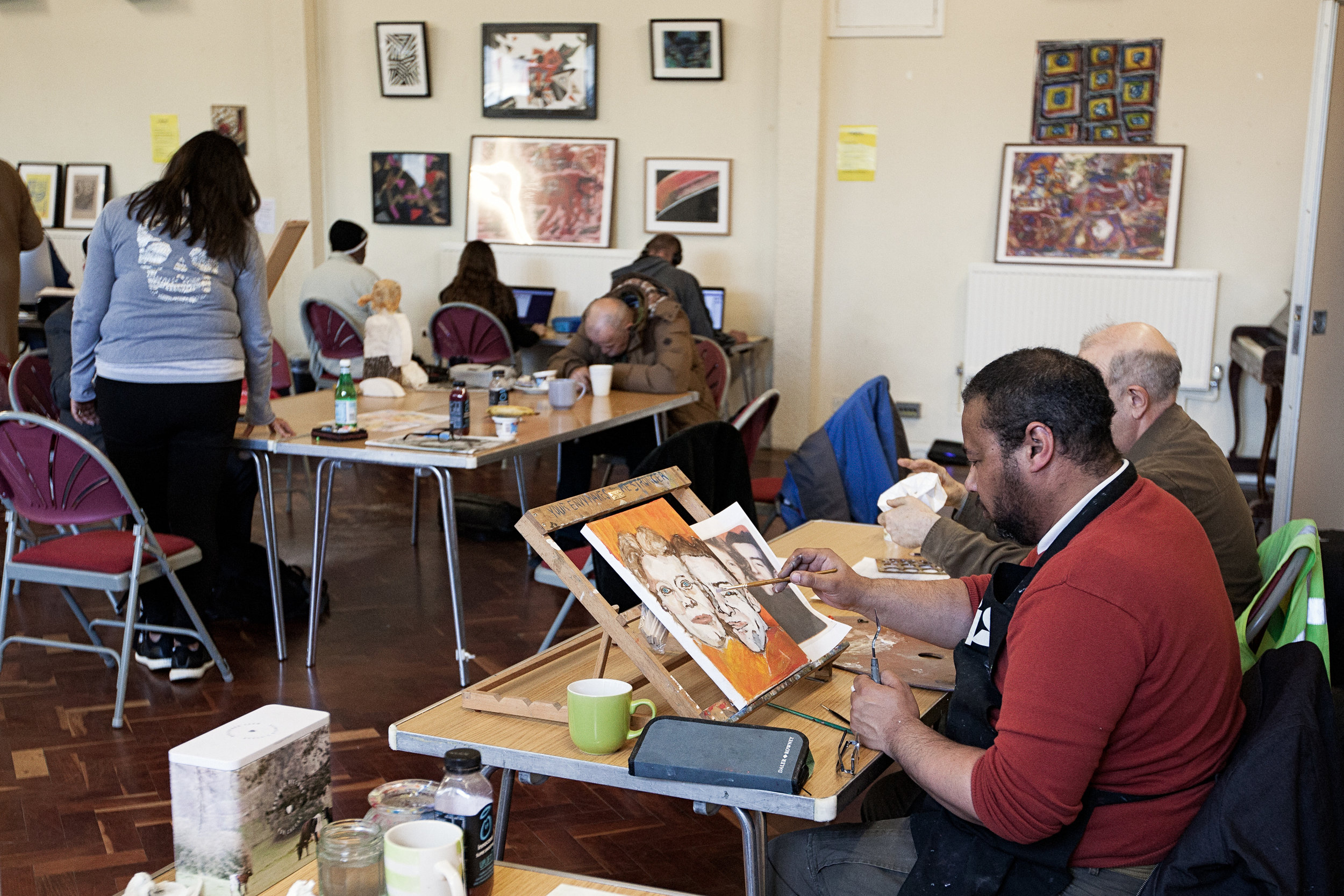 The Arts Group - The arts table runs daily and provides all materials. At any moment there will be people working on drawings at the table, painting on easels, working on mosaics or developing a portrait.The process is valued as much as the product, and artists are encouraged not to be too precious about their work or the outcome, but, principally, just to enjoy the act of creating it. Ultimately we reckon anyone can paint, illustrate, sculpt, draw - they just need to commit a bit of time. And have fun, of course.We do our best to help our artists get their work seen and sold: submitting to the Big Issue, organising group and solo exhibitions, taking market stalls, hanging in cafes, submitting to competitions and external exhibitions.