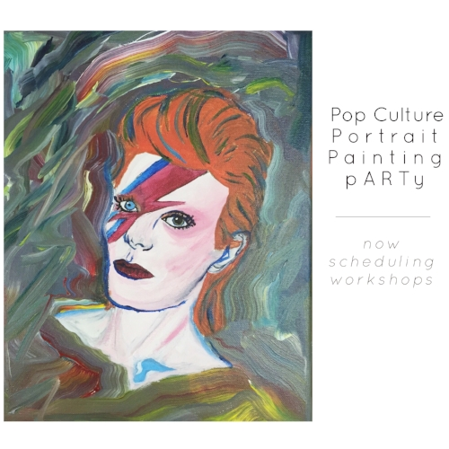 {an introduction to photo transfer onto canvas} Paint a portrait of your favorite pop culture super star on canvas. As a participant, you will learn the process of photo transferring onto canvas and acrylic painting FUNdamentals.  $45 each participant includes all supplies and materials. Minimum of 4 participants.