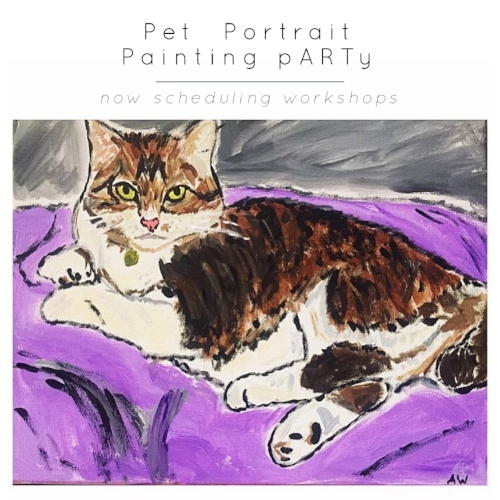 {an introduction to photo transfer onto canvas} Paint a portrait of your favorite furry (or feathery or scaly) friend on canvas. As a participant, you will learn the process of photo transferring onto canvas and acrylic painting FUNdamentals.  $45 each participant includes all supplies and materials. Minimum of 4 participants.