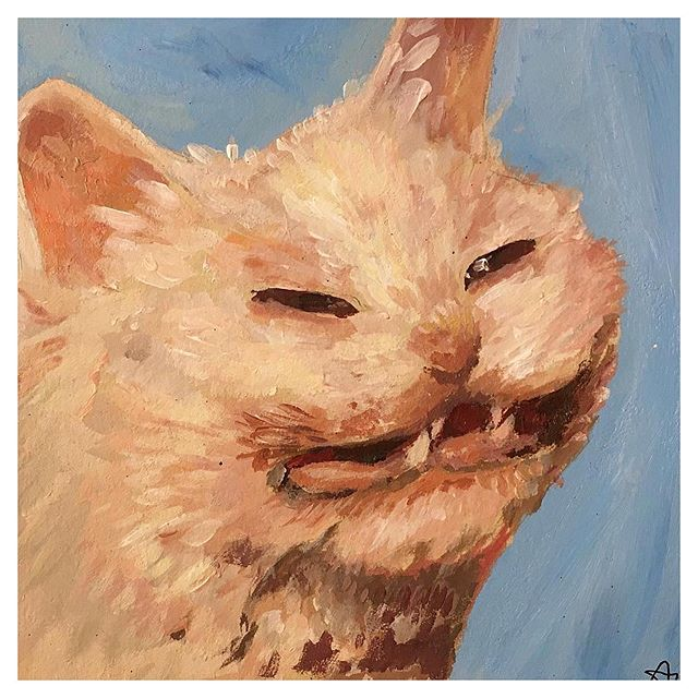 #MewseumMonday painting by Alba Mannering #MuseumCats  #Repost @vibrant.scumbag ・・・ Catto  #memes #catto #catmemes #kitter #kitteh #artmeme #memeart #art #drawing #catdrawing #catart #catpainting #portrait #portraitpainting