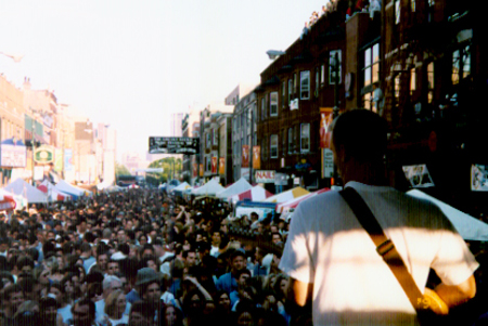 The band's view of a Chicago street festival.