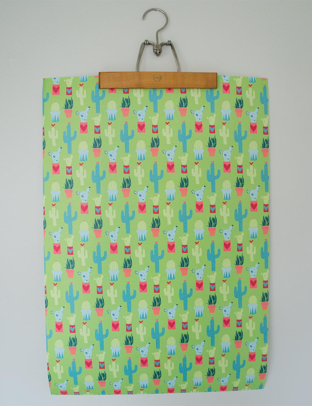 HomegrownLove Green Cactus Gift Wrap Paper