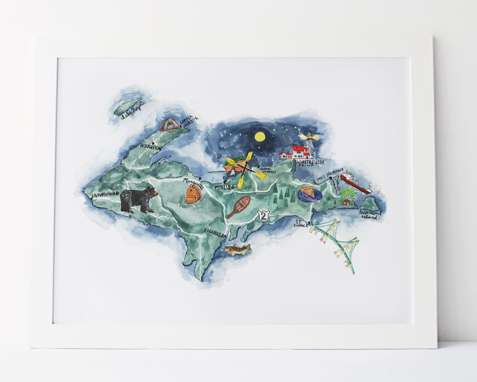 michigan-watercolor-art-upper-peninsula