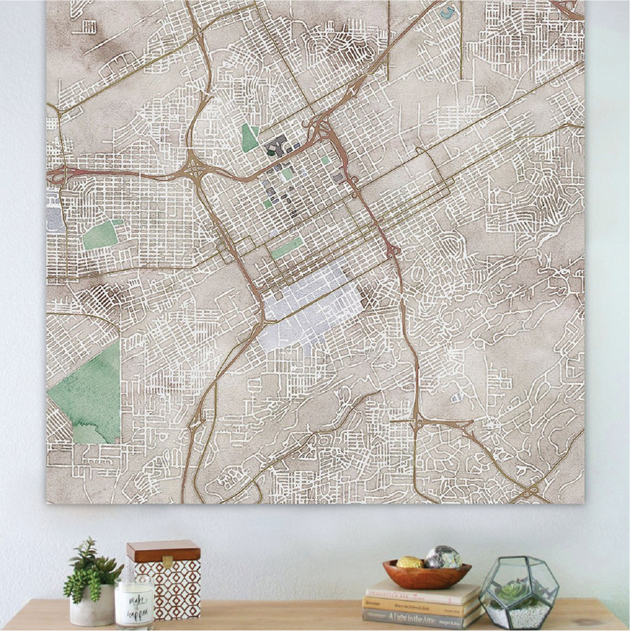 Watercolor Cityscape Maps on Canvas ($125-225)