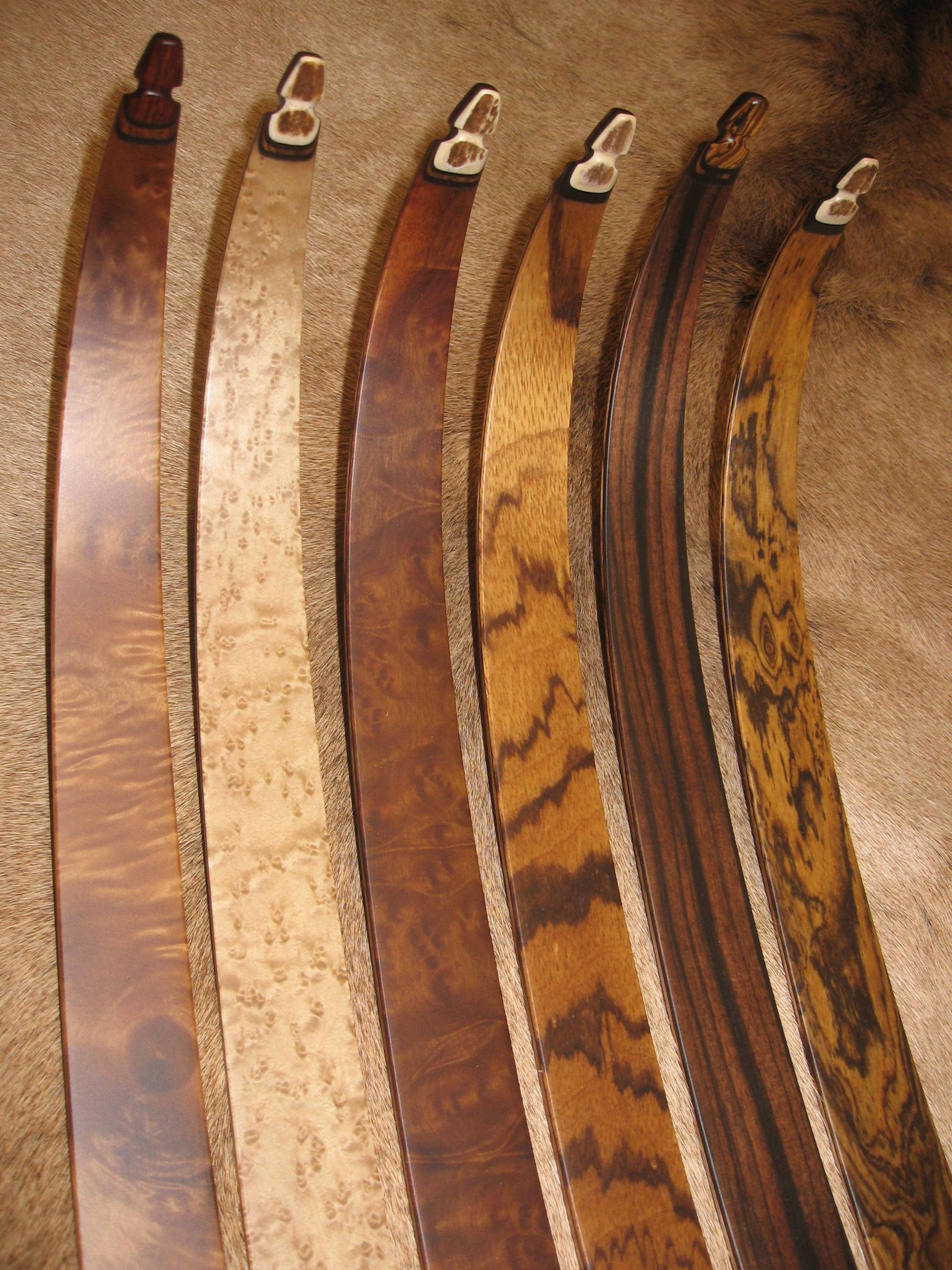 Anglestep Maple, Birdseye Maple, Camphor Burl, Zebrawood, Macassar Ebony, Bocote