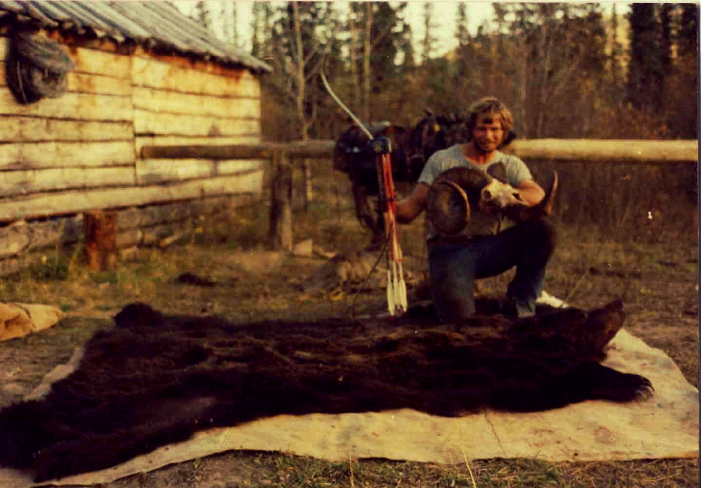 Paul Schafer with a Bighorn Sheep and Grizzly Bear from his 1978 British Columbia hunt.