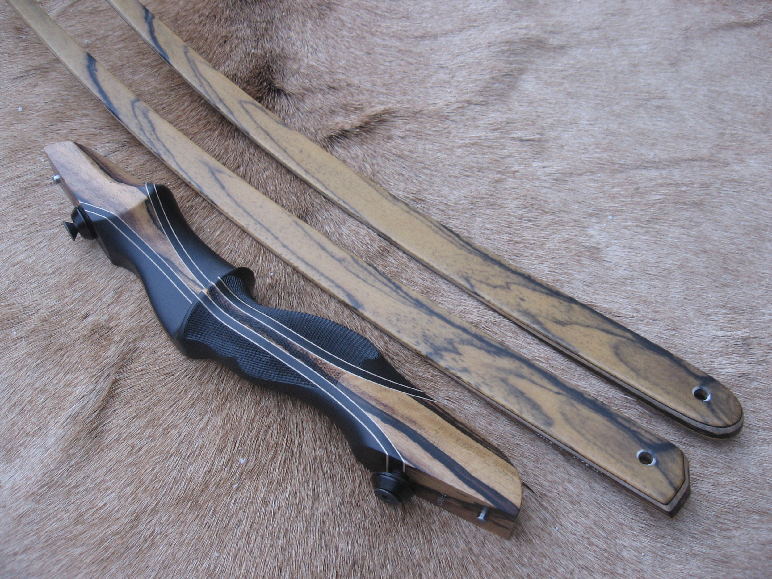 Charcoal Dym Riser w/ Black and White Ebony Flare- Black and White Ebony Limbs