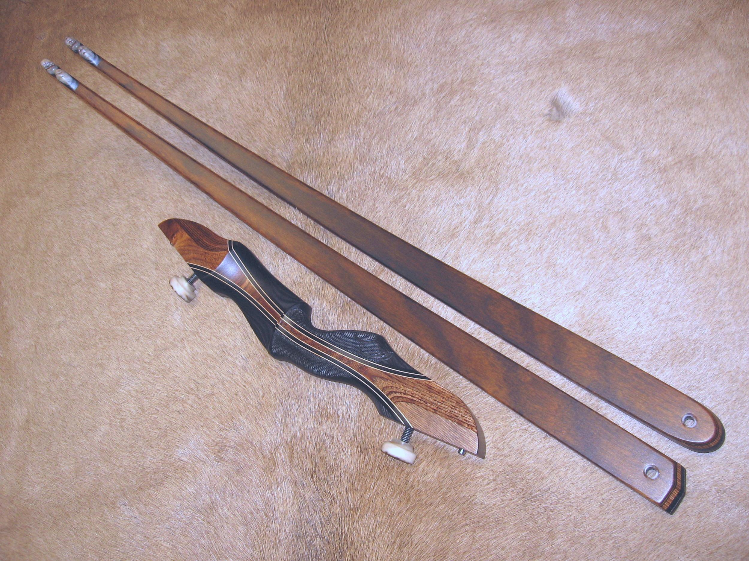 Charcoal Dym Riser w/ Charcoal Dym Flare- Zebrawood Limbs
