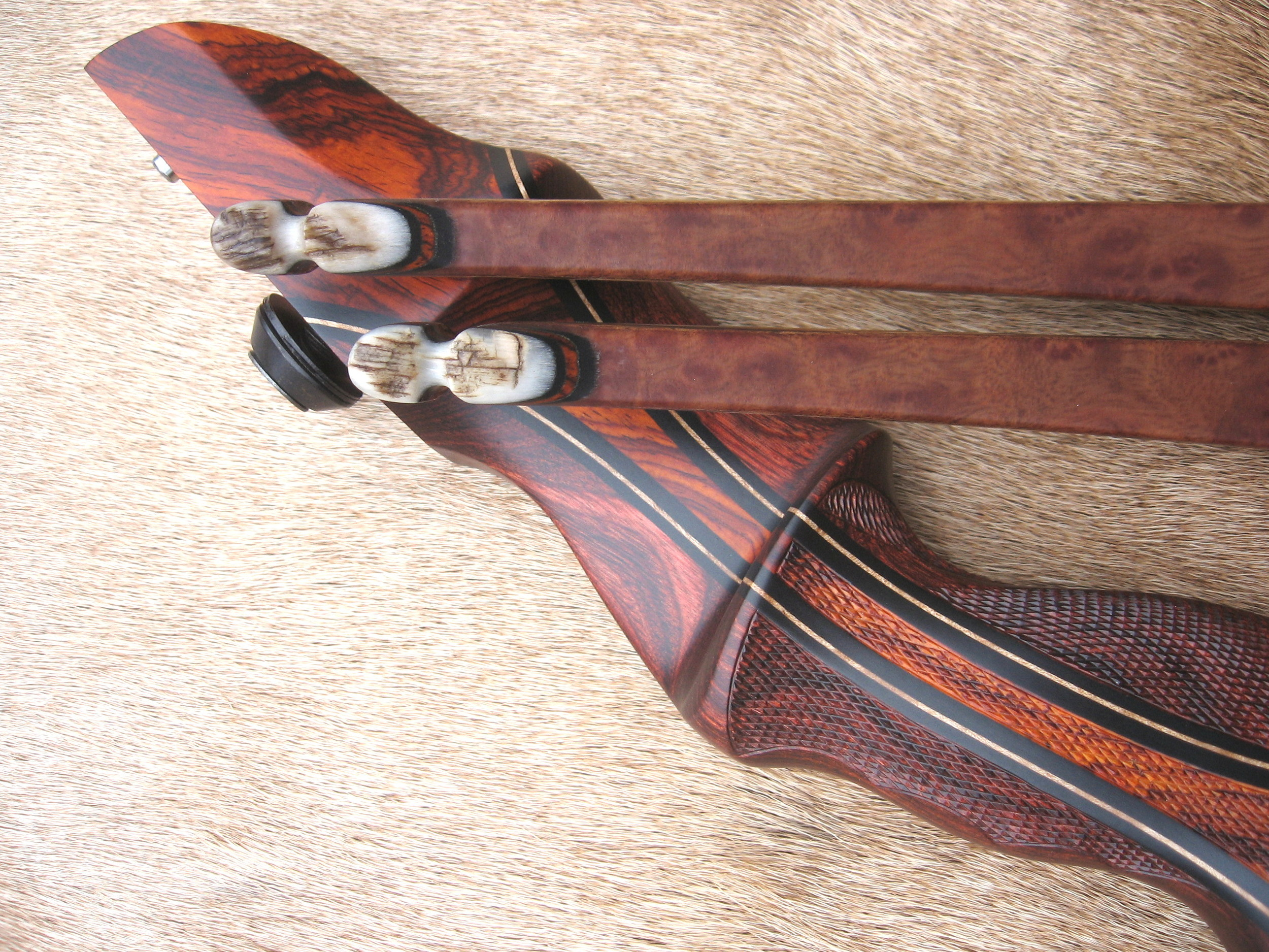 Rosewood Dym Riser w/ Cocobolo Flare- Camphor Burl limbs w/ antler tips