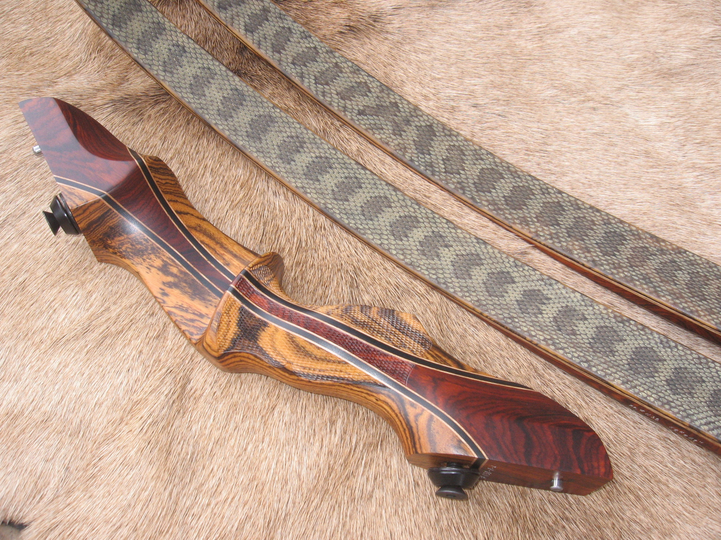 Bocote Riser w/ Cocobolo Flare- Prairie Rattler Skins