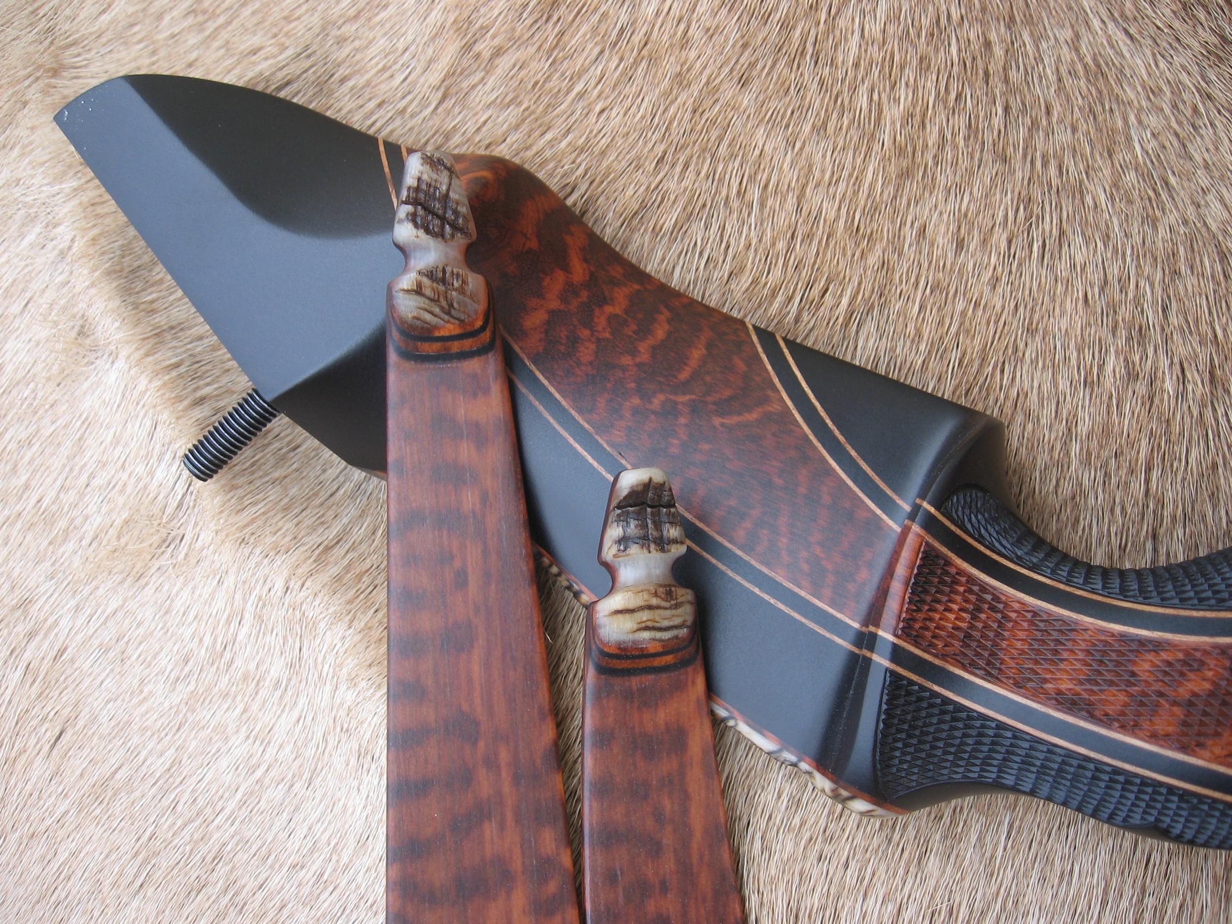Gaboon Ebony Riser w/ Snakewood Cresent- Snakewood Limbs w/ Rough Sheep Horn tips