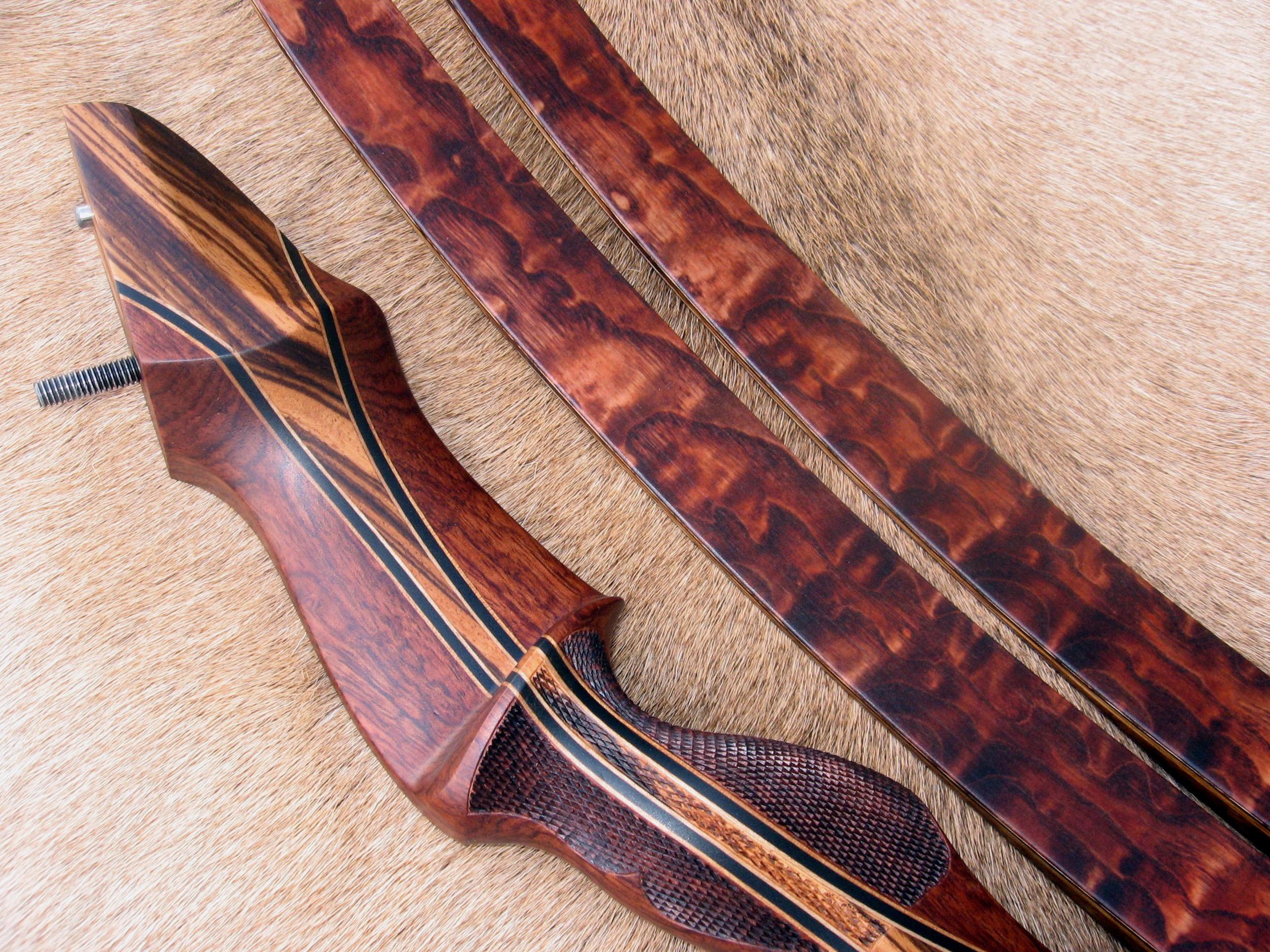 Bubinga Riser w/ Zebrawood Flare- Tamo Ash limbs stained Cocobolo