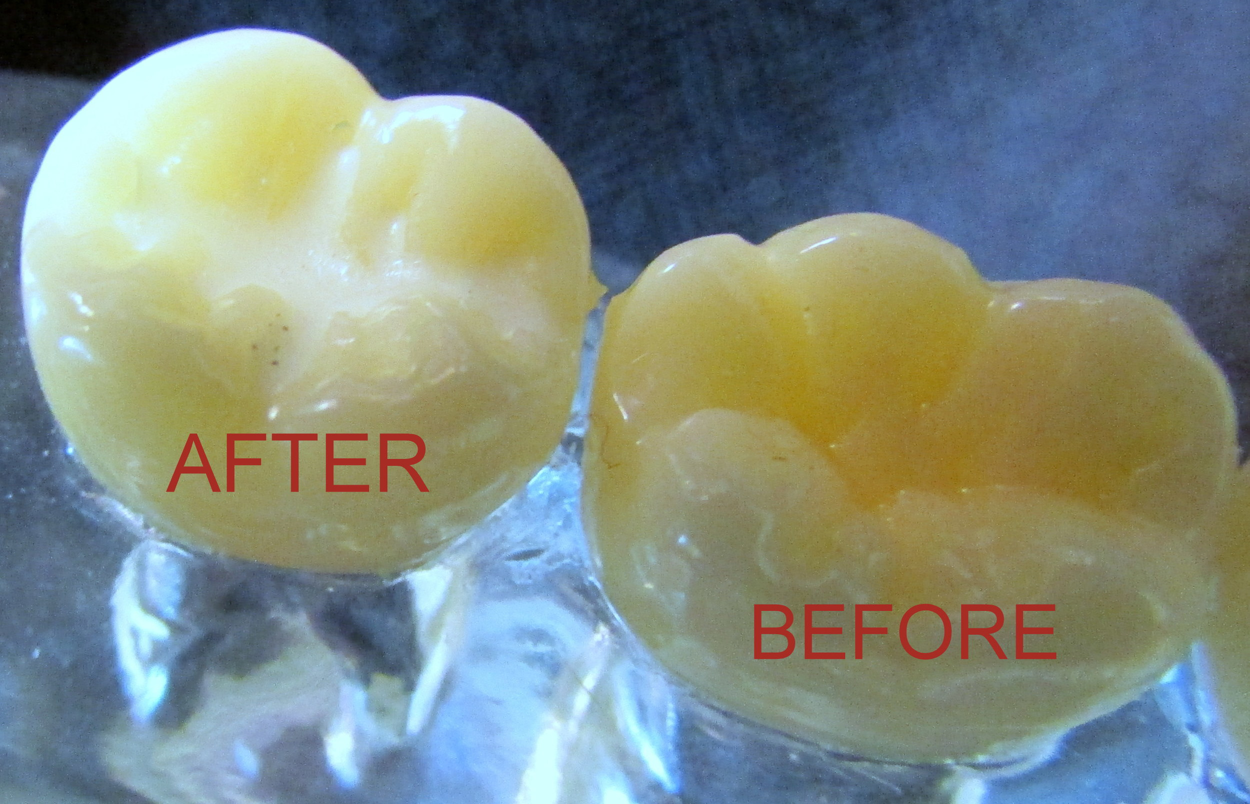 Sealant applied to molar on left, whereas molar on right has deep grooves that can catch bacteria and sugar, which can lead to cavities.