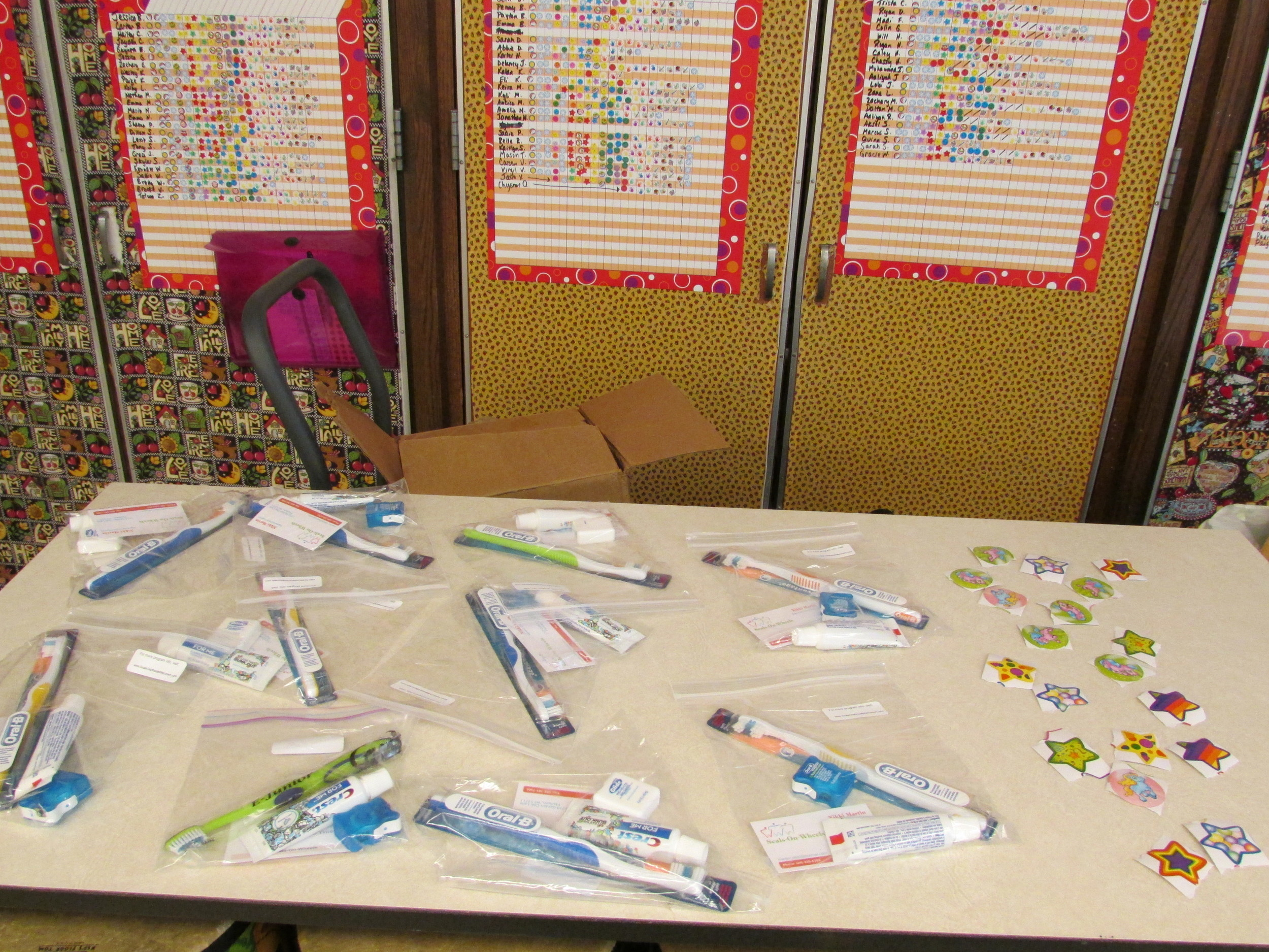 Toothbrush, floss, toothpaste, and stickers   After each visit we have a variety of themed toothbrushes and stickers that students enjoy choosing from, and each bag we send home with them includes floss and toothpaste. A parent sheet will also be sent home listing services performed that day and if any further work is recommended.