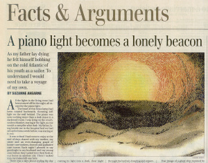 A piano light becomes a lonely beacon.   A 'Facts & Arguments' essay in The Globe and Mail, 2004.