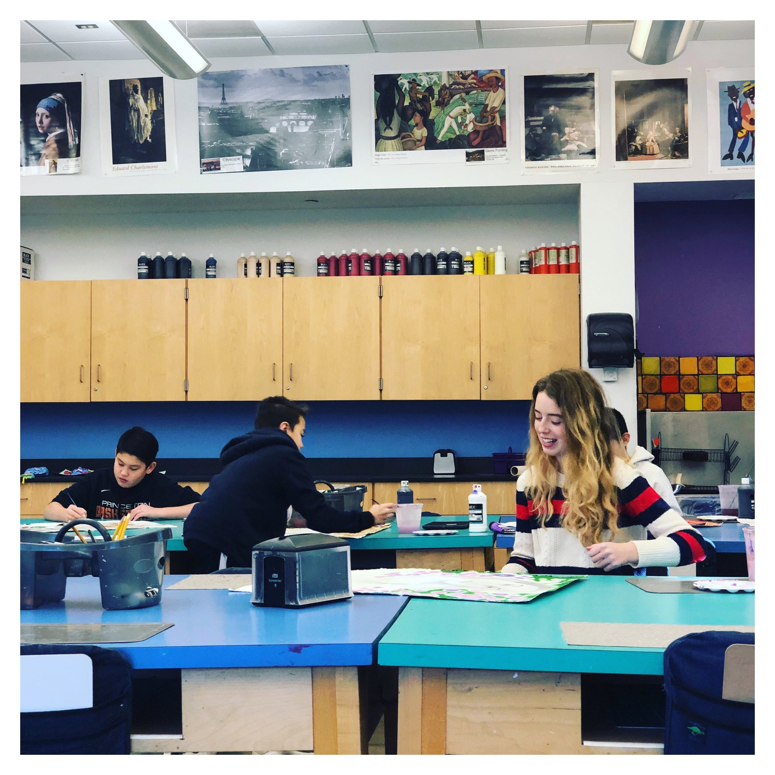 I started a new job this fall and it's been a whirlwind…in all the good ways. I can explain all of that later.    I wanted to share a picture of my 8th grade drawing class. For context, I have been working with this small group of 8th graders since September on their portrait project. I am lucky enough to call them my advisees as well. They are some of the kindest, funniest, and genuine group of kids I have ever met.    So for the new year, here's us, listening to Reed's 'Sleepy Time' playlist. I don't know how she sleeps to Journey and all the 80's hits…lol.