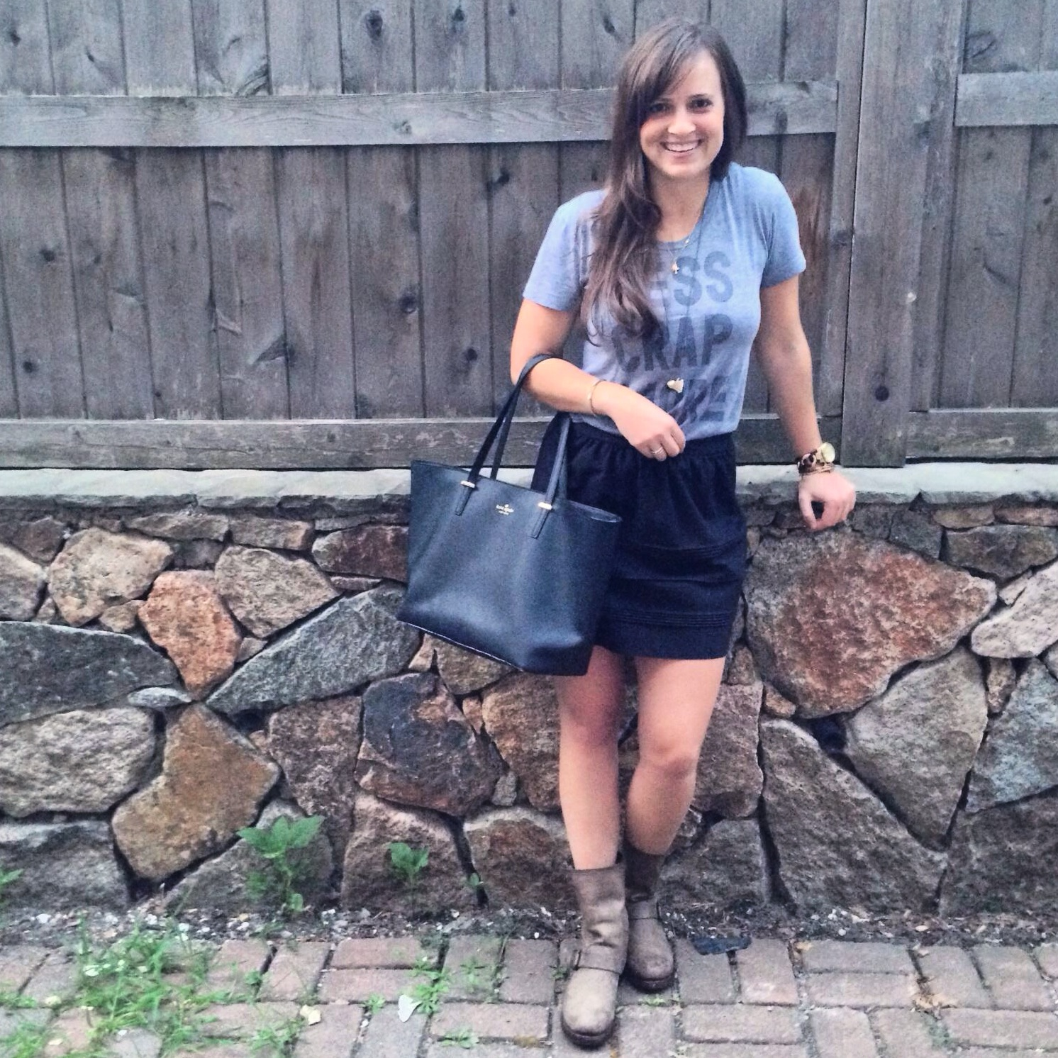Day 3: Madewell skirt, Frye boots, Michael Kors watch, Kate Spade bag