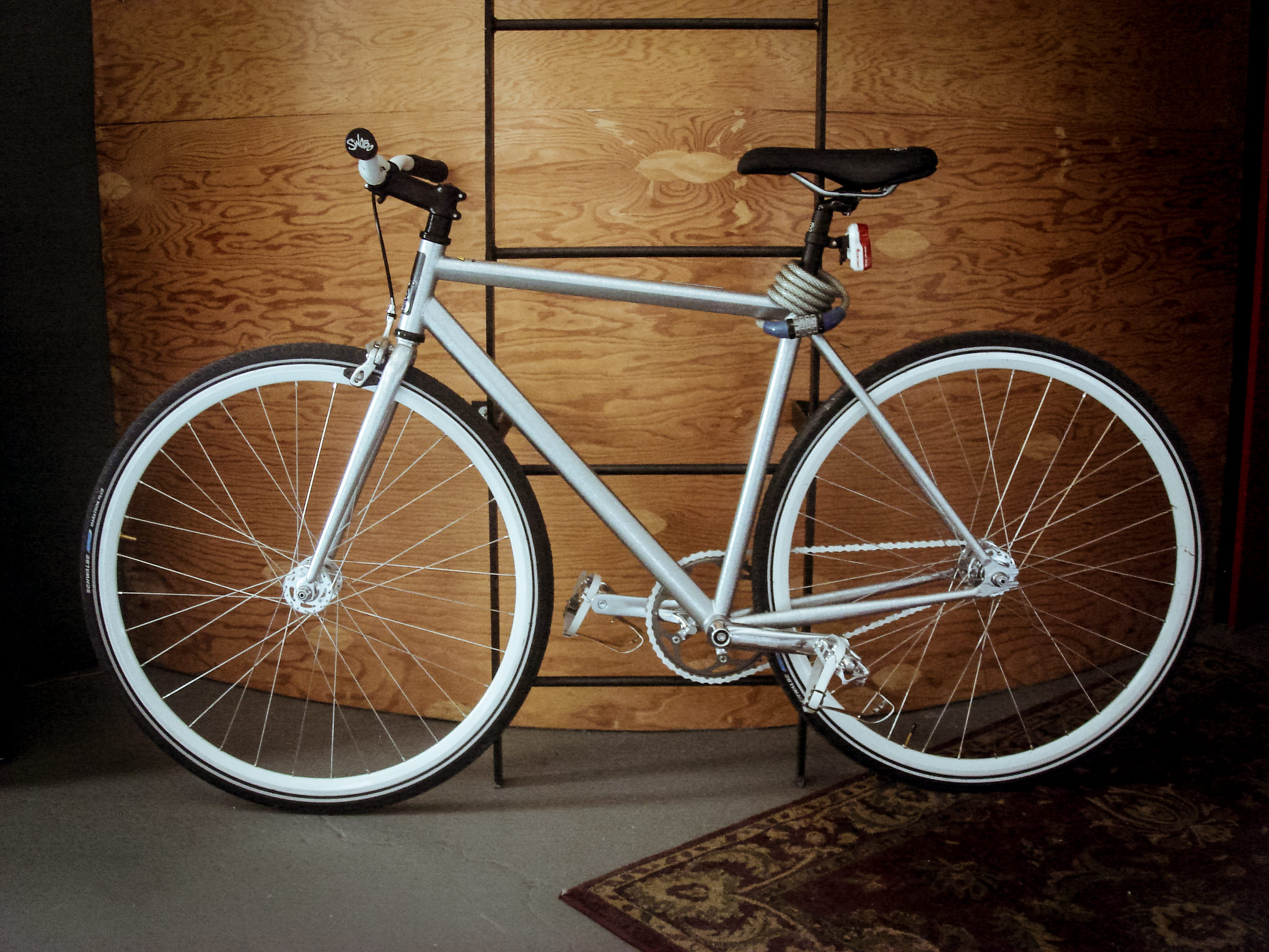 My trusty Swobo, single speed 'Sanchez' in Silver, free wheel with front and rear brakes.