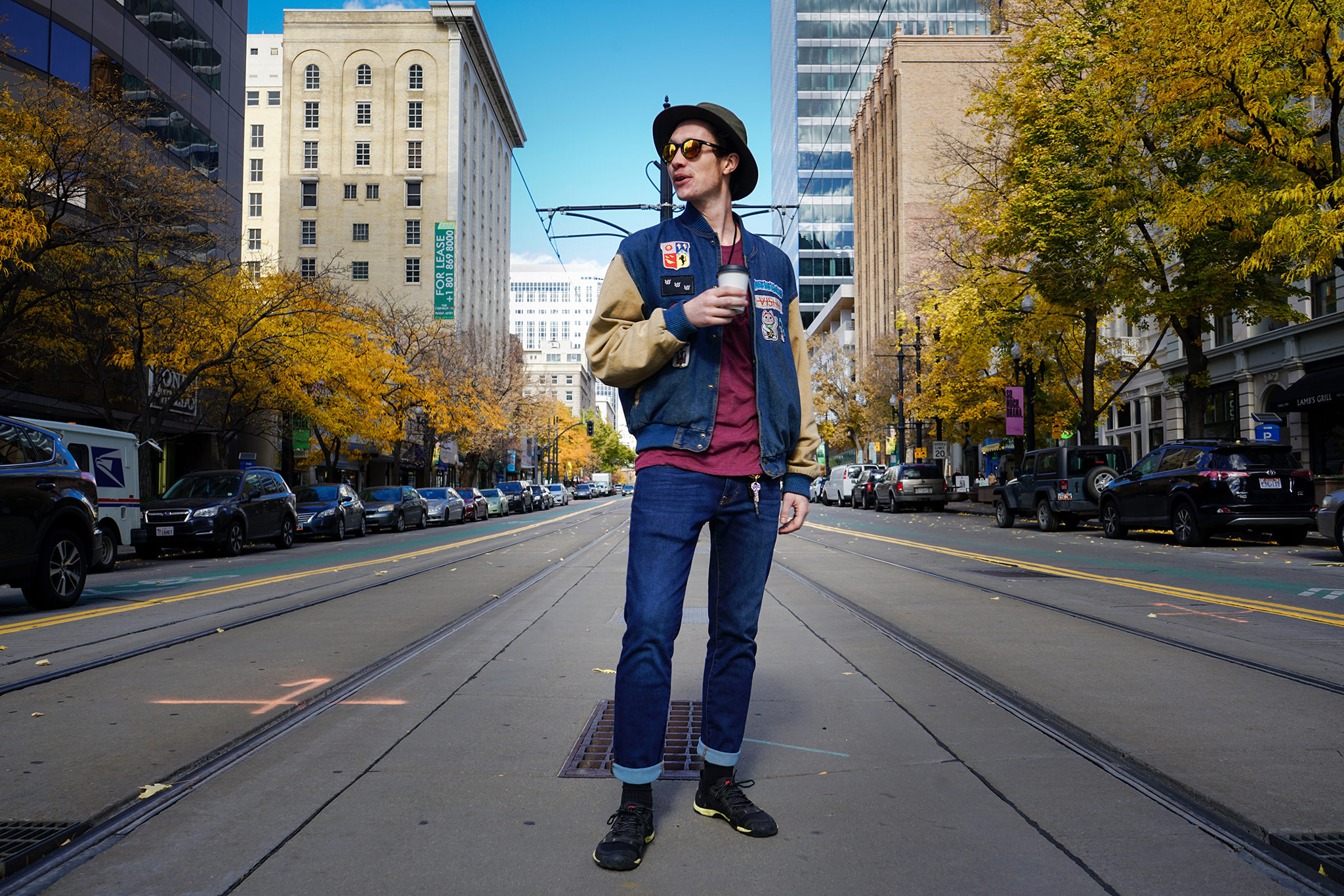 A nonchalant Serge stopping traffic in downtown Salt Lake City. Photo by Danny Graham.