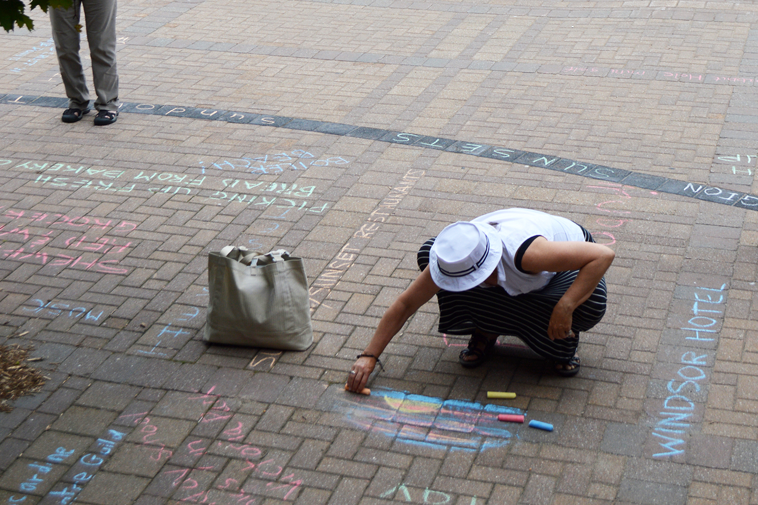 The Tale of a Town Kingston Ontario Resident Drawing on the Brick Floor