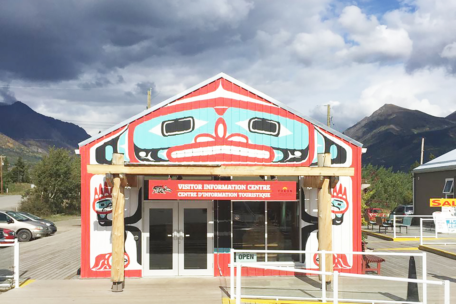The Tale of a Town in front of a Yukon Whitehorse Building at Carcoss Commons