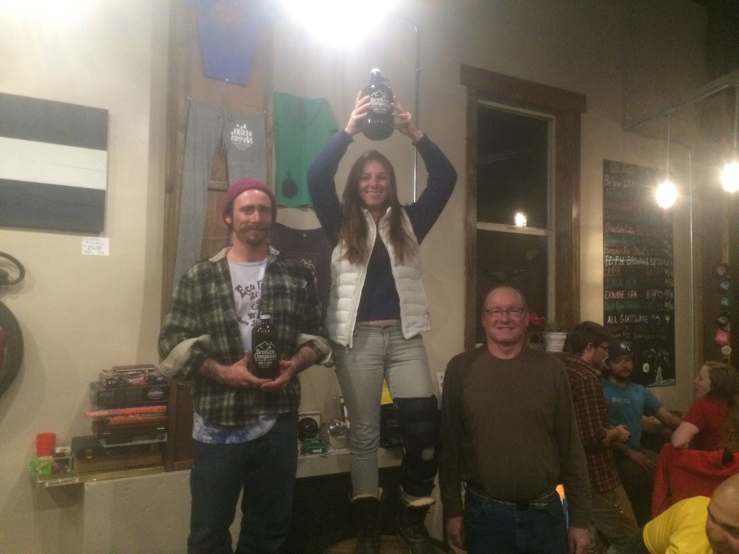 The victorious potluckers: Madeleine (middle), Nick (left) and Brian