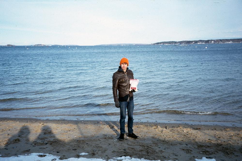Grandma and I at the Atlantic Ocean in Maine, 2013