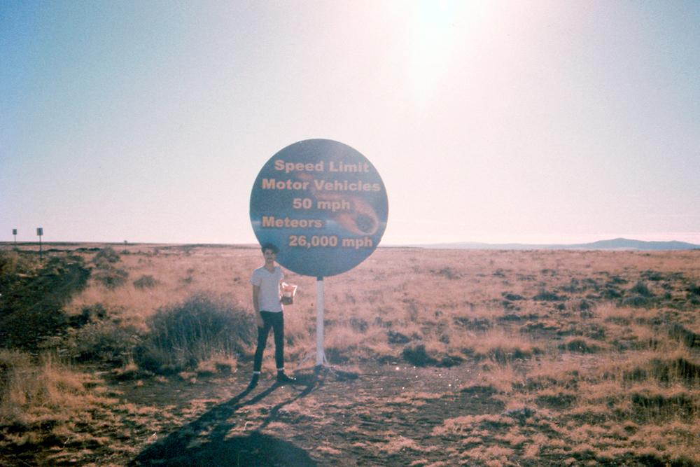Grandma and I at a meteorite landing site in Arizona, 2014