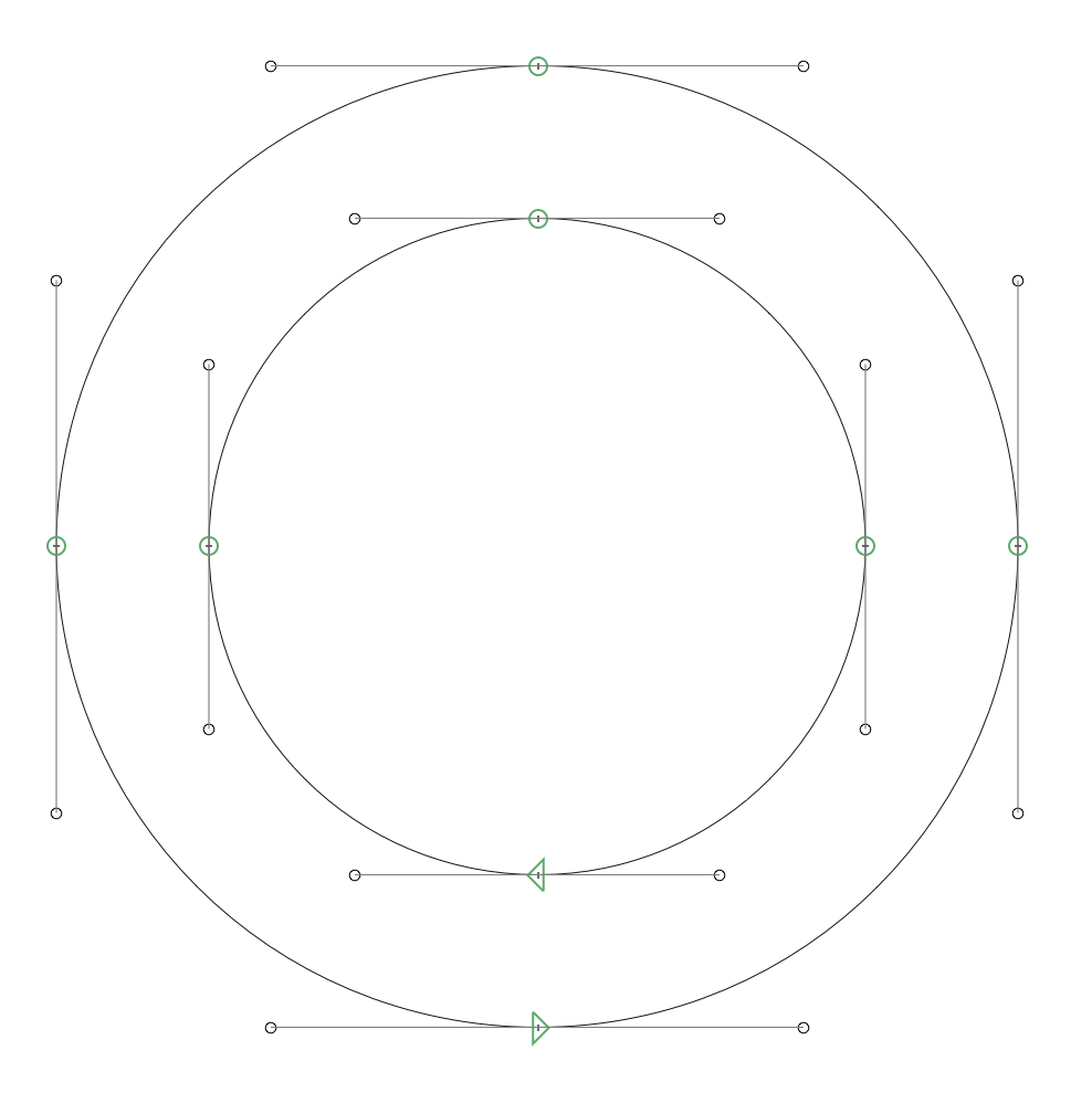 Image Three: Bezier Points should go on the cardinal directions and be use sparingly. Two paths going opposite directions will create an open counter. This is indicated by the arrows at the bottom of each circle going different directions.
