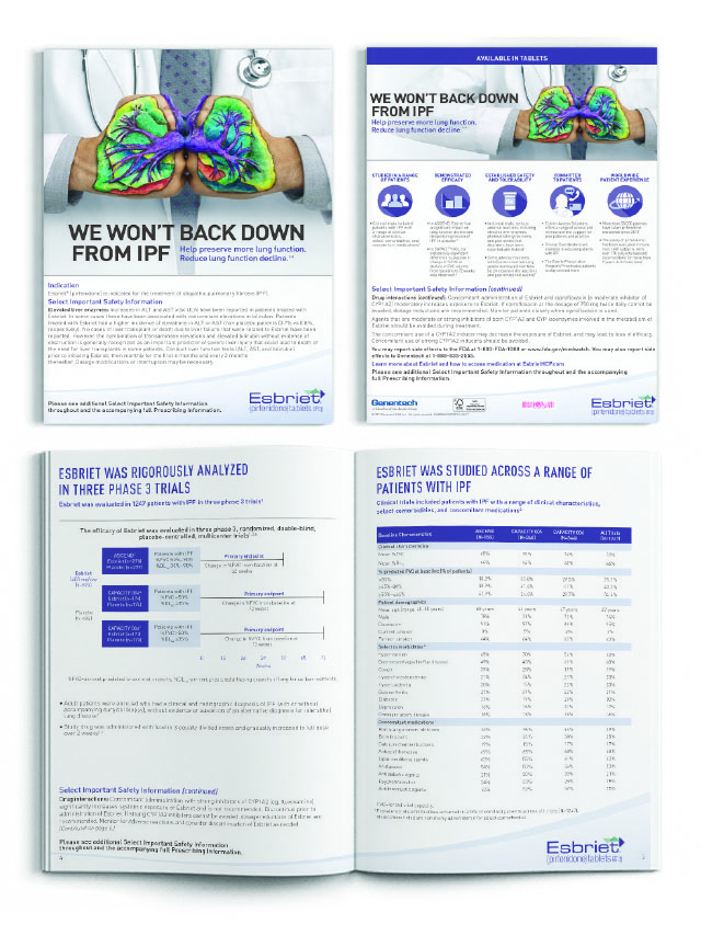 Figure 1. Example of Pharmaceutical advertising publication.  Print Brochure. 9in x 12in. Esbriet, Genentech. 2017