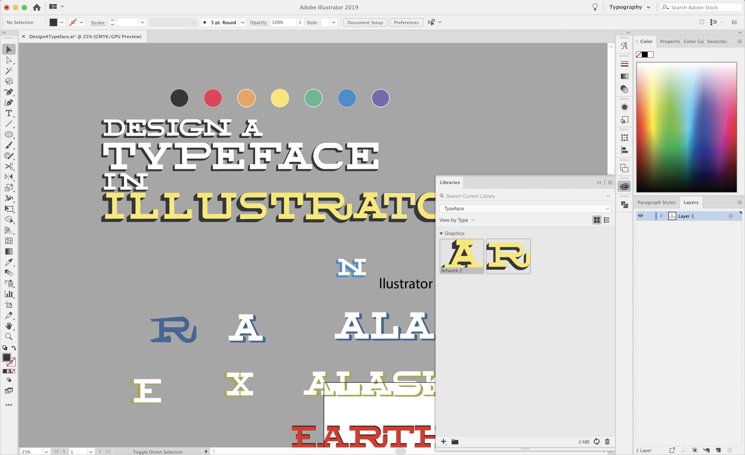 Using  Adobe CC Libraries  to upload each letter so they can be used in any Adobe Product.